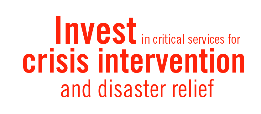 Invest in critical services for crisis intervention and disaster relief
